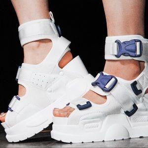 Anthony Wang white/purple platform sandal